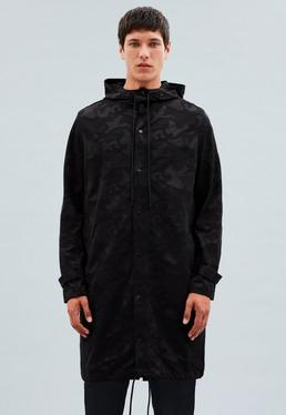 Black Unlined Camo Parka Coat