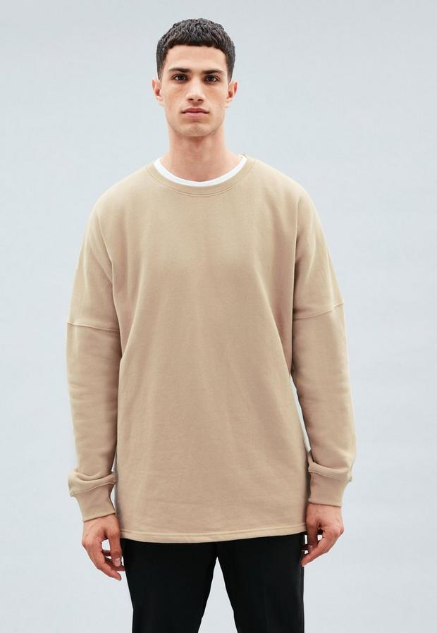 Beige Crew Neck Dropped Shoulder Sweatshirt, Men's, Size M, Sleek Slate