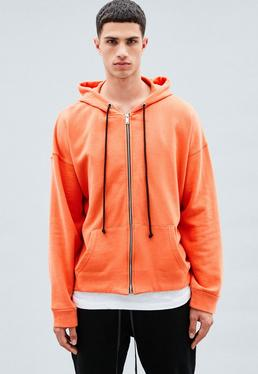 Orange Zip-Through Hoodie