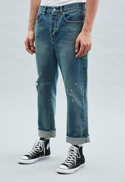 Blue Straight Crop Ripped Knee Chancellor Jeans