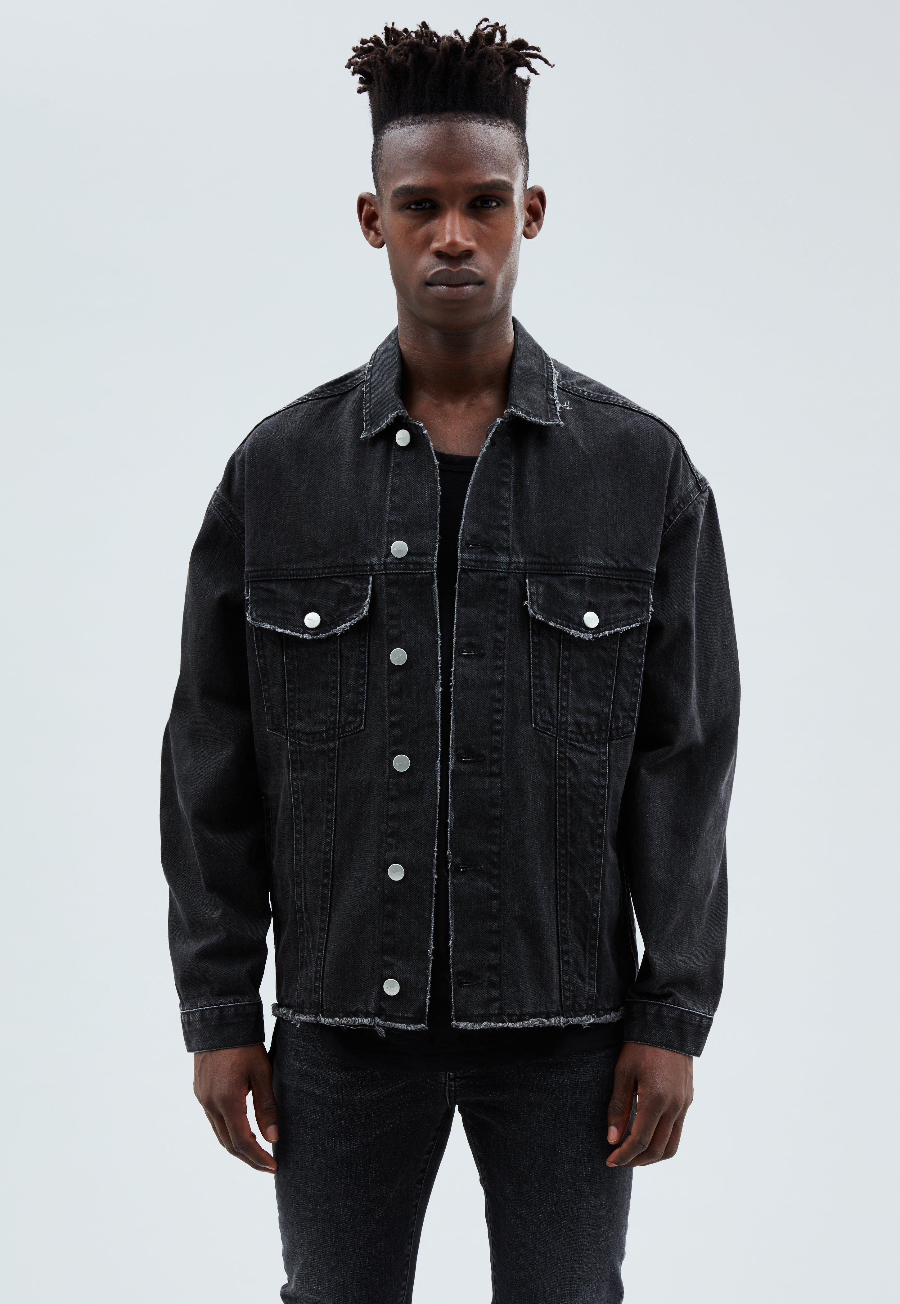 82d0d7b0e0f6 Washed Black Raw Edge Western Denim Jacket | Mennace