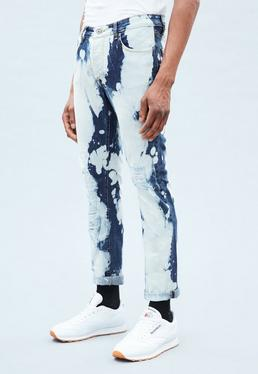 Blue Relaxed Makaveli Bleached Ripped Jeans