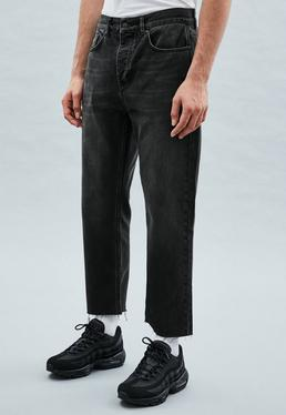 Black Straight Crop Raw Hem Chancellor Jeans