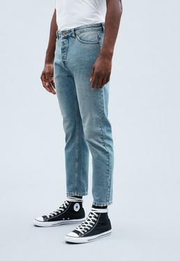 Blue Cropped Tapered Dara Jeans