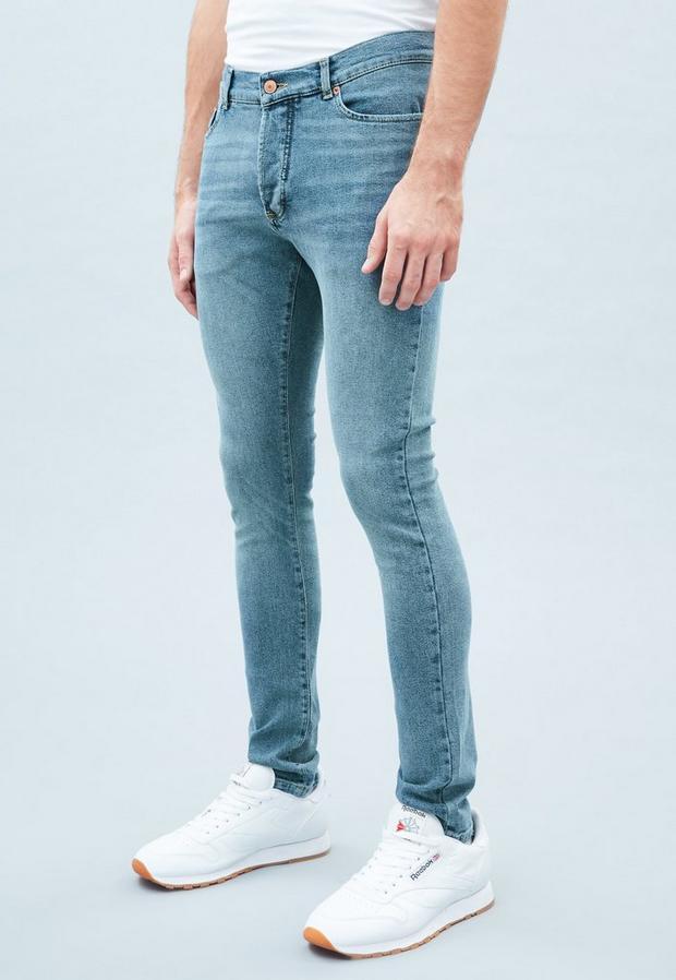 Blue Super Skinny Vintage Wash Jeans, Men's, Size 28, Blue