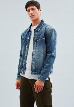 Blue Vintage Wash Minimal Trucker Okonoma Denim Jacket