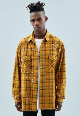 Yellow Paint Splat Checked Oversized Shirt
