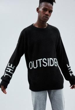 Black Regular The Outsiders Printed Jumper
