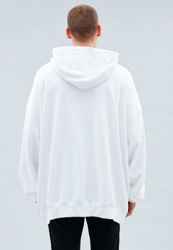 White Embroidered Oversized Hoodie Mennace