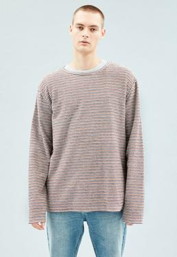 White Striped Reverse Long Sleeved T-Shirt