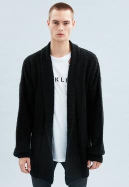 Black Oversized Brushed Edge-To-Edge Yarn Cardigan