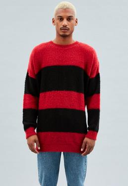 Red Longline Striped Crew Neck Jumper