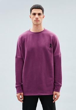 Purple Embroidered Crew Neck Sweatshirt