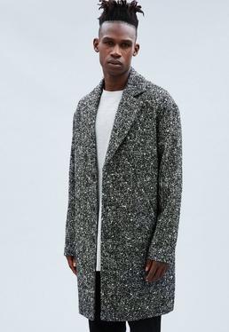 Black Wool Salt & Pepper Relaxed Crombie Coat