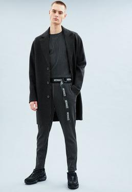 Charcoal Grey Wool Relaxed Crombie Coat