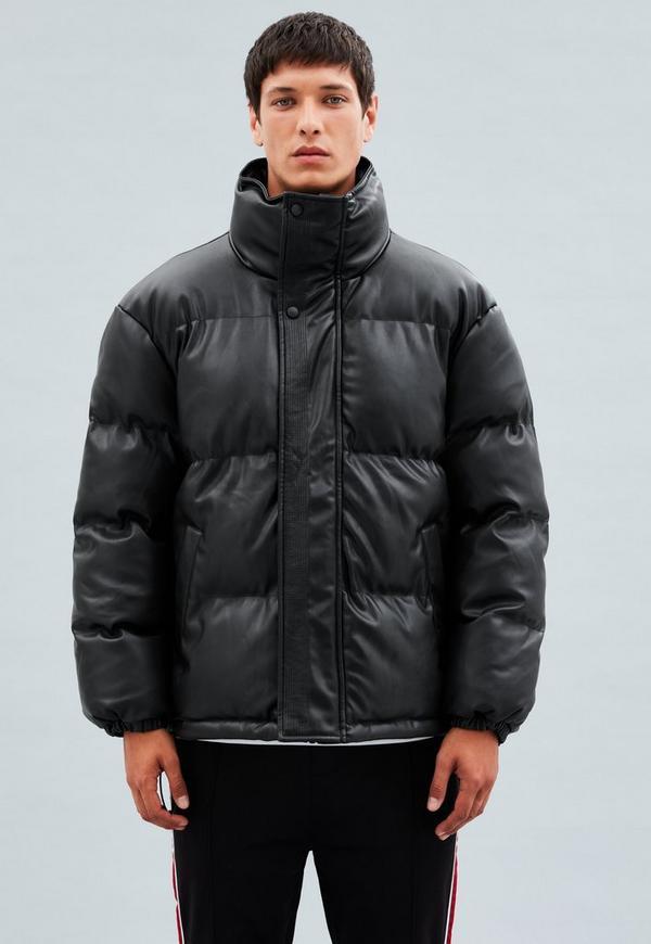 Black Faux Leather Puffer Jacket Mennace
