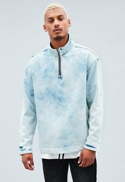 Blue Bleached Overhead Denim Jacket