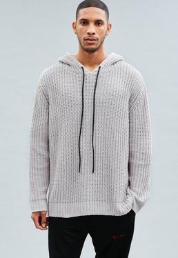 Light Grey Chenille Drop Shoulder Chain Knit Hoodie