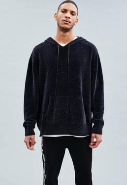 Navy Chenille Oversized Knitted Hoodie