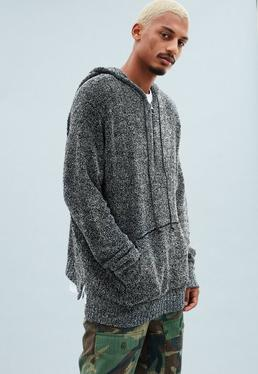 Grey Knitted Half Zip Oversized Hoodie