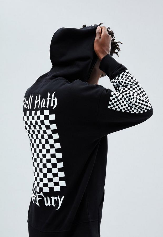 Black Boxy Overhead Hoodie, Men's, Size L, Black