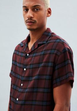 Burgundy Revere Collar Checkered Shirt