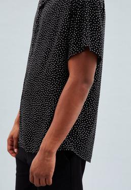 Black Regular Revere Collar Polka Dot Shirt