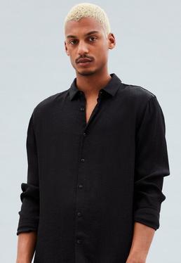 Black Leopard Jacquard Relaxed Regular Shirt