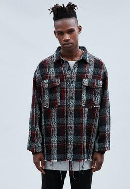 Navy Raw Hem Checked Shirt