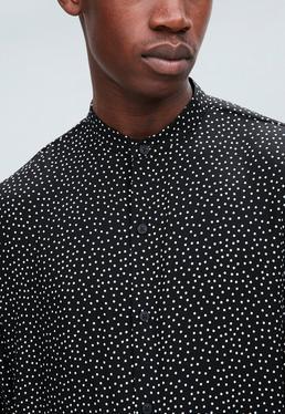 Black Regular Grandad Collar Polka Dot Shirt