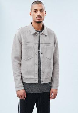 Grey Faux Suede Minimal Okonoma Jacket
