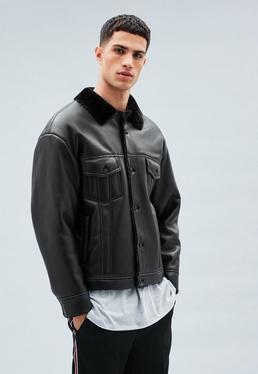 Black Faux Leather Faux Fur Lined Western Jacket