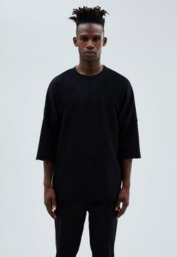 Black Relaxed Three-Quarter Sleeve Sweatshirt
