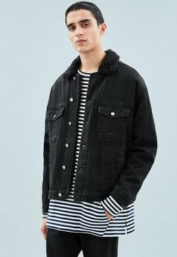 Black Borg Trim Trucker Carter Denim Jacket