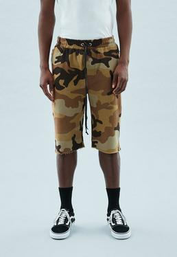Khaki Camo Print Regular Jersey Shorts