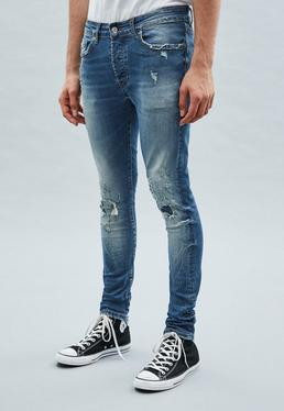 Blue Distressed Super-Skinny Cordoza Jeans