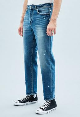 Blue Tapered Cropped Dara Jeans
