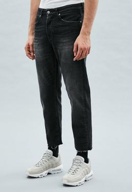 Black Tapered Cropped Dara Jeans