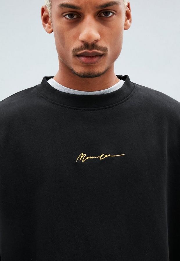 Black Embroidered Boxy Sweatshirt, Men's, Size L, Black