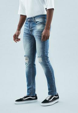 Blue Skinny Relaxed Raw Hem Makavelli Jeans
