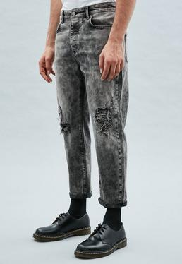 Washed Black Rip & Repair Tapered Cropped Dara Jeans
