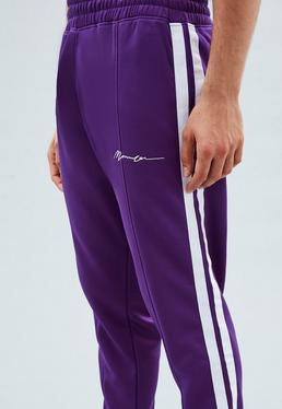 Purple Straight Cut Tricot Knit Tracksuit Bottoms