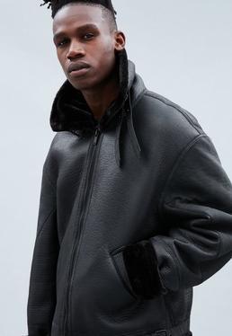 Black Faux Fur Trim Flight Jacket