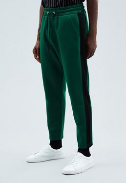 Green Straight Cut Tricot Knit Tracksuit Bottoms
