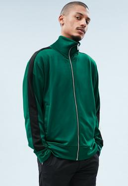 Green Tricot Knit Zip-Through Track Top