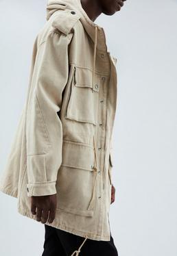 Beige Utility Parka Coat