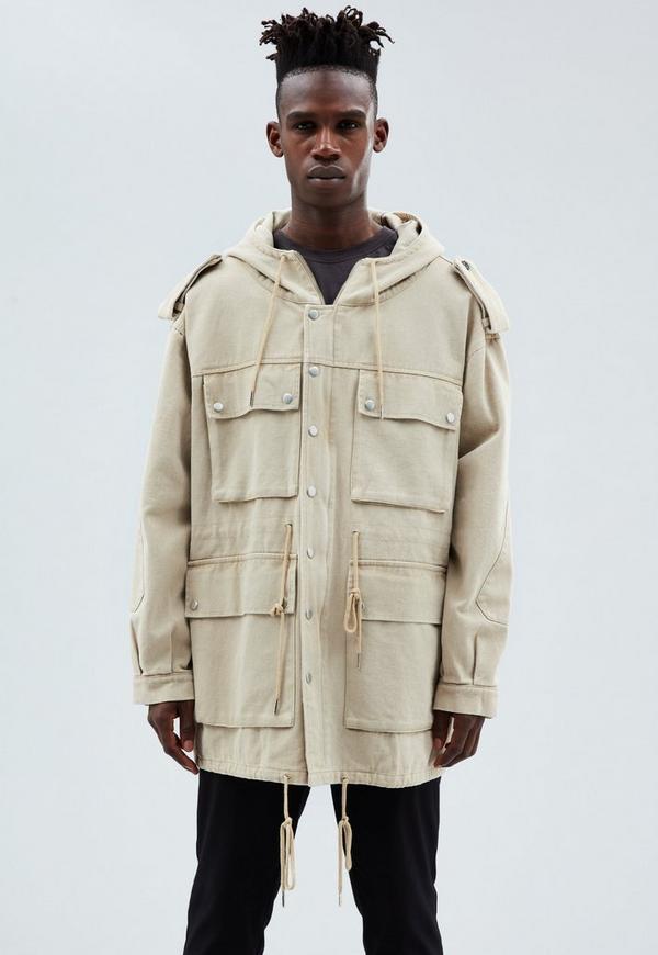 Beige Utility Parka Coat | Mennace