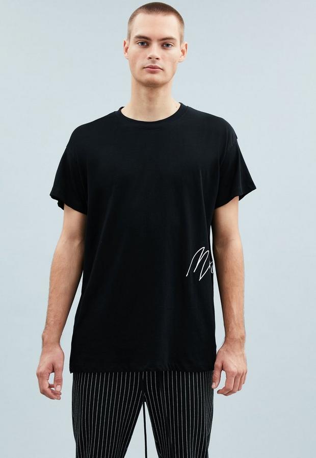 Black Side T-Shirt, Men's, Size S, Black