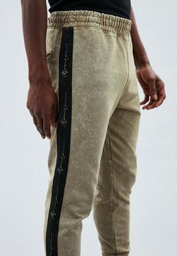 Khaki Tape Detail Regular Joggers