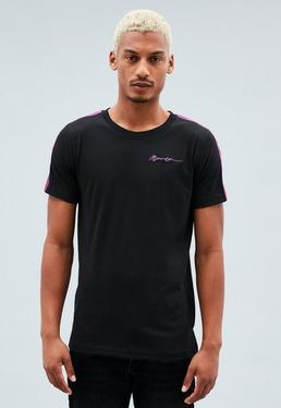 Black Regular Singature Embroidered T-Shirt